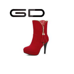Latest Woman PU Leather Zipper Boots/ Red Comfort High Heel Ankle Boots pictures & photos