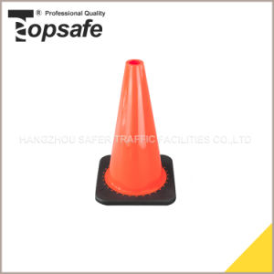 18inch (45cm) Injected Black Base PVC Traffic Cone pictures & photos