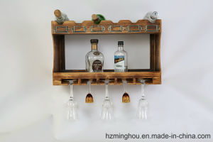 Rustic Wooden Wall Mounted Wine Glass Display with Wine Storage pictures & photos