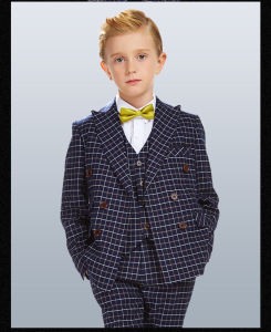 Double Breasted Plaid 3 Piece Kid Clothes Boys Suit