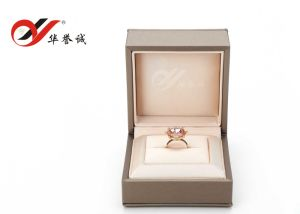 Champagne Leatherette Paper Plastic Ring Box pictures & photos