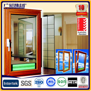 Wood Color Aluminium Double Glazed Windows for Tilt and Turn Aluminium Window pictures & photos