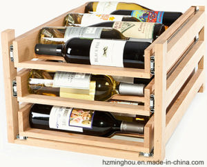 3 Layer Rustic Wood Wine Bottle Rack for Small Furniture pictures & photos