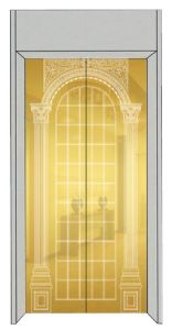 Luxury Passenger Elevator with Golden Mirror Etching Stainless Steel pictures & photos