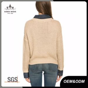 Denim Collar Fashion Womens Cable Knit Sweater pictures & photos