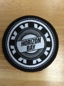 Round Shape Black Overlocking Woven Badge pictures & photos