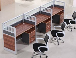 3 Seats Straight Desk Workstation Cluster Staff Office Partition (HX-NCD315) pictures & photos