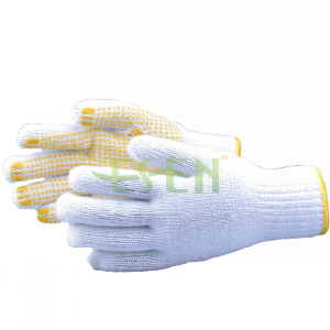 Bleach Cotton Gloves, Knitted Yellow PVC Dots Gloves (D16-H2) pictures & photos