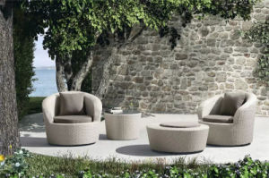 Leisure Garden Outdoor Patio Rattan Sofa with Foot-Stool