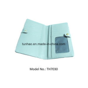 Snap Women Wallets Smooth Clutches with ID Window Back Zip Coin Pocket pictures & photos