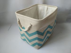 Canvas Rect. Storage Basket with 2 Rope Handles and EVA Inside