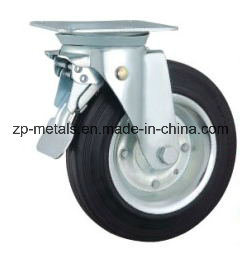 6 Inch Galvanized Bin Rubber Caster Wheel with Brake pictures & photos