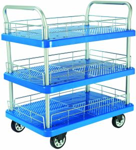 150kgs Triple Layers Plastic Platform Service Trolley with Guardrail pictures & photos