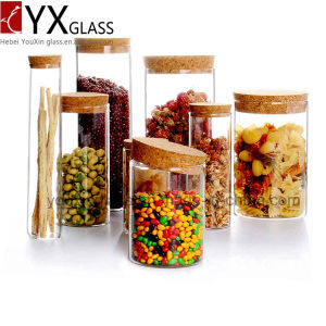 Made in China Borosilicate Handmade Glassware Heat Resistant Glass Jar with Wood Lid Glass Storage Jar Collection Storage Tank