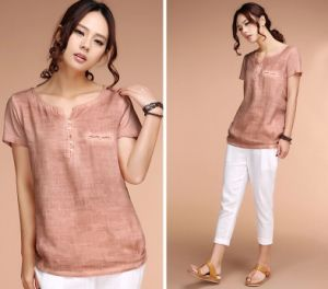 Fashion Vintage Literary Linen T-Shirt for Women pictures & photos