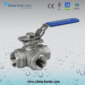 SS316 Female Thread 3 Way Ball Valve with Mounting Pad pictures & photos