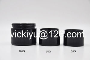 30g, 50g, 100g Black Cream Glass Jars, Puple Black Glass Container for Cosmetics, Violet Black Glass Cream Containers pictures & photos
