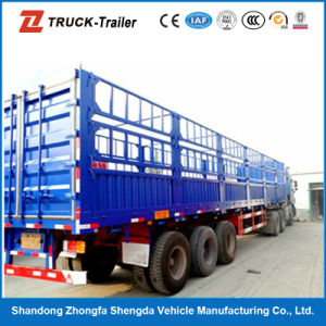 Large Capacity 3 Axles Fence Semi Trailer for Livestock Transportation for Sale