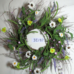 Je187 Spring Colorful Handmade Foam & Paper Flower Wreath Artificial Flowers