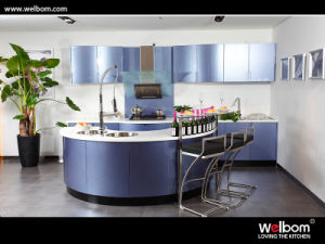 Blue Color Modern Baked Paint Kitchen Cabinet Design pictures & photos