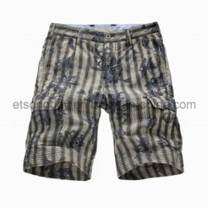Printed Flower 100% Cotton Vertical Stripe Men′s Shorts (GDS-38) pictures & photos