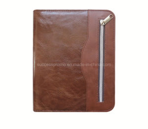 PU Leather Document File Folder Zipper Organizer with Handle pictures & photos