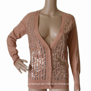Women Cardigan with Sequin Fashion Sweater Knitwear (HS50115)
