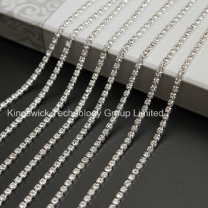 Ss28 Silver Plating Square Cup Chain Roll Rhinestone Chain pictures & photos