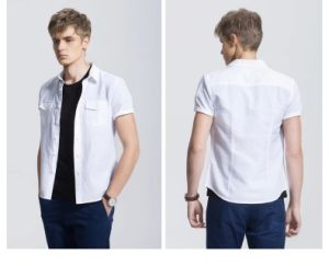 Fashion Casual New Design White Plain Men′s Shirt pictures & photos