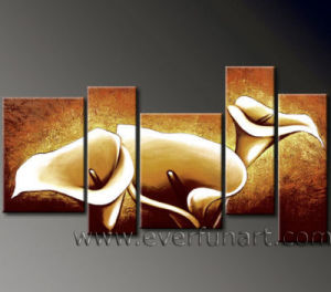 Hand-Painted Modern Group Flower Painting on Canvas (FL5-037) pictures & photos