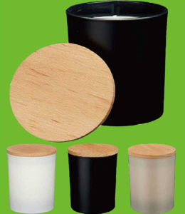 Wooden Lid Type Votive Candle Holder in Black Color pictures & photos