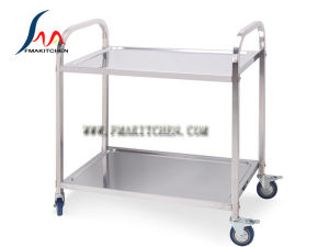 Stainless Steel 2 Layer Dining Cart, Square Tube, Many Size pictures & photos