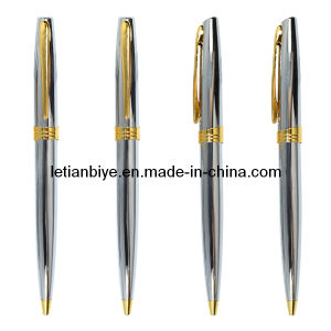 Silver Metal Ball Pen with Gold Trims for Company Gift (LT-Y143) pictures & photos