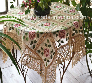 Rose Design Lace Table Cloth St149 pictures & photos
