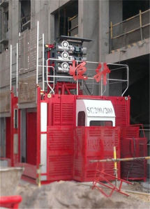 Double Cabin 1ton Construction Lift for Sale by Hstowercrane pictures & photos