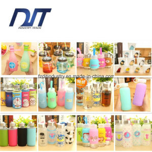 Colorful Sports Glass Water Bottle with Cloth Sleeve pictures & photos