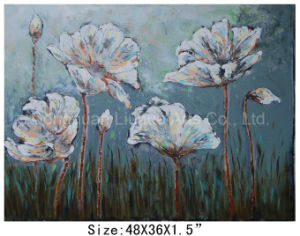 High Gloss Effect Home Decor Lotus Flower Oil Painting 36X48 Inch on Canvas (LH-700542) pictures & photos