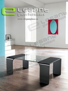 Clear Glass Coffee Table With 4 Black Glass Legs -CB013 pictures & photos