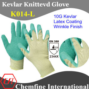 10g Kevlar Knitted Glove with Latex Wrinkle Coated Palm/ En388: 2344 pictures & photos