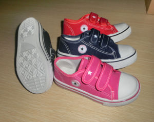 Classic Style Magic Tape Children Shoes Injection Canvas Shoes (HH150508) pictures & photos