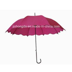 Wave Shape Edge Fiberglass Ribs Straight Auto Umbrella (YSC0013) pictures & photos