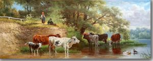 Classical Oil Painting with The Rest Cattle pictures & photos