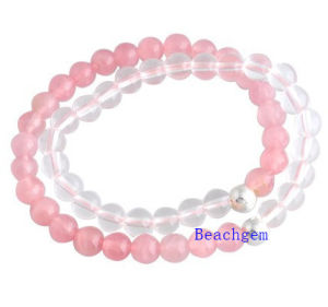 Natural Rose Quartz and White Crystal Beads Bracelet (BRG0016)