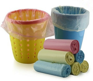Plastic Disposable Star Seal Tie Top Garbage Trash Bag on Roll