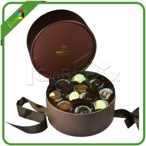 Luxury Paper Chocolate Candy Round Box with Ribbon pictures & photos