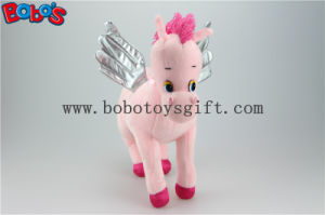 "14.2"" High Quanlity Pink Plush Angel Horse Toy with Silver Wings Bos1185 pictures & photos"
