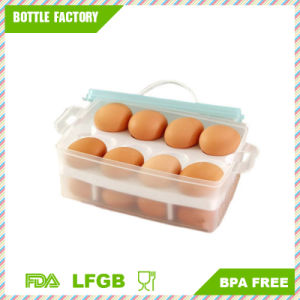 Kitchen Double Deck Eggs Holder Box Covered Egg Dispenser with Handle for Refrigerator 24-Egg Capacity pictures & photos
