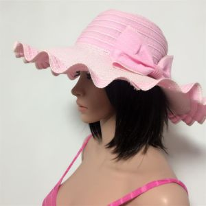 100% Paper Straw Hat, Fashion Floppy Style with Ribbon and Bowknot Decoration pictures & photos