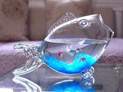 Wholesale Handmade Glass Figurines Fish Shape Bowl for Decoration
