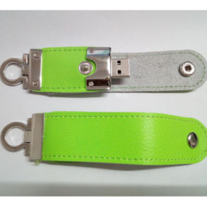 Leather USB Flash Drive 8GB 500PCS in Stock (color green) pictures & photos